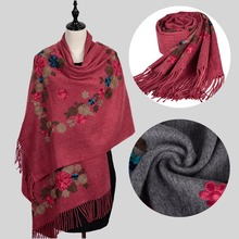 Wholesale scarf cashmere cheap flower embroidered 100% acrylic pashmina viscose scarf shawls oversize winter scarf