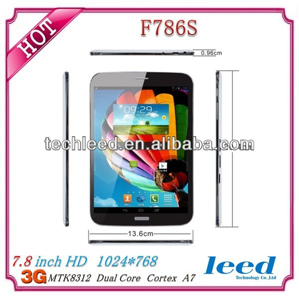 MTK8312 dual core Tablet F786 with /3G/BT/GPS//FM/ Two Sim Cards Slots