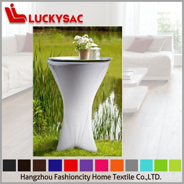 White spandex cocktail table cover for wedding