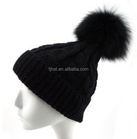 100% Wool Fox Pompom Warm Soft Stretch Cable Knit Slouchy Beanie Skull Hat