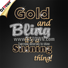 Custom rhinestone glitter heat transfer t-shirt gold and bling it's a shining thing design