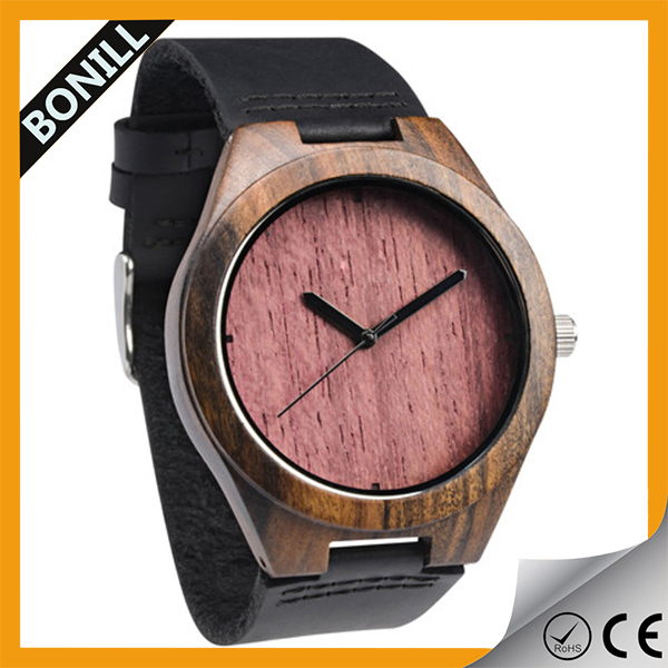 Japan Miyota Movement Clock Men Custom Logo Wooden Wrist Watch