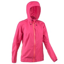 Lady's blank plain foldable waterproof windbreaker jacket in a bag