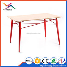 Non-slip Wood Grain Stickers Top Metal Dining Table