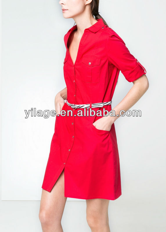 Spring New Designs ! V-Neck Cotton T-Shirt Dress ! Casual Fashion Beautiful Ladies Dresses
