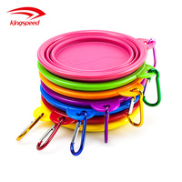 Amazon Custom logo eco-freindly silicone BPA foldable collapsible travel dog food and water bowl with hook carabiner