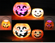 YIWU caddy HP-27 2015 plastic led pumpkin lighted halloween buckets