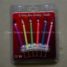 6 Ct Pack Birthday Candle with coloured flame