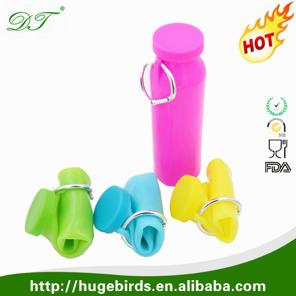 Private Label Folding Foldable Collapsible Silicone Water Bottles Wholesale for Travel Sport