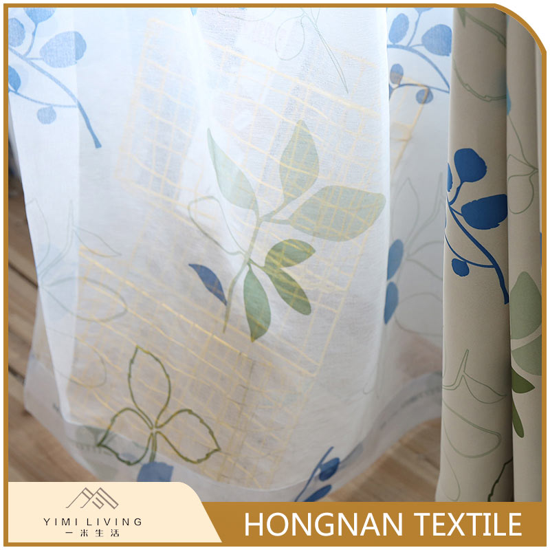 Wholesale new luxury woven curtain printed types of sheer fabric
