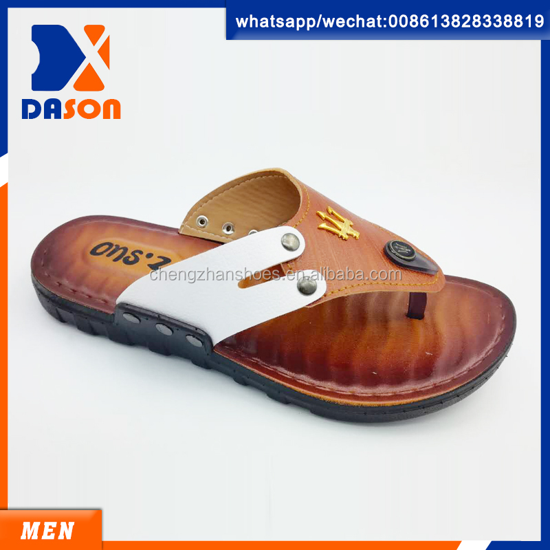 outdooe high quality men pu v shape slippers in summer