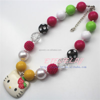 wholesale Factory direct new coming cute pink Hello Kitty chunky bubblegum beads necklace for kids girl jewelry