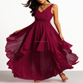 2017 Burgundy V-Neckline Women Maxi Chiffon Dress