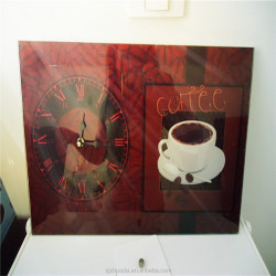 Ruby red coffee cup design glass wall clock