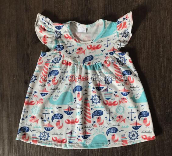 2017 children clothes cartoon smocked children clothing wholesale sailor print toddler baby dress