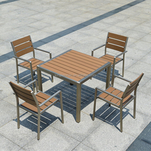 All Weather Outdoor Furniture Set Patio Used Wood Table and 4 Chairs Plastic Wood Dining Table Chairs Set