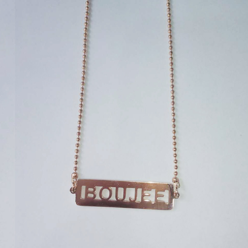 retail gold/rose gold plated stainless steel hollow boujee fashion jewelry necklace