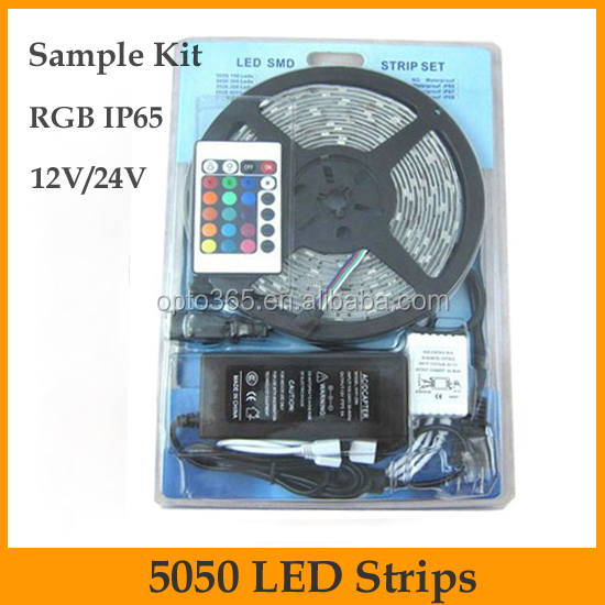 hot sell China supplier remote controller complete set 44 keys 5050 waterproof IP65 RGB led strip kit