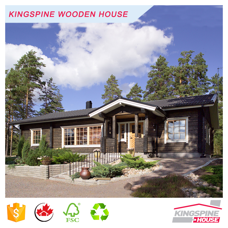 New Fashion Bungalow Prefab Solid Wooden Log House High Quality Made in China KPL-027