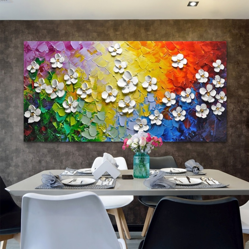 3D picture painting on canvas colorful floral tree oil painting for living room bedroom dining room wall decoration