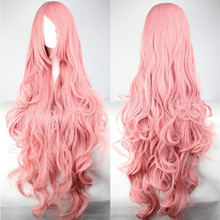 LM hair Wavy Long Curl Pink Bangs Wig Anime Cosplay Heat Resistance Fibre Women 1 Meters Long Wigs Synthetic