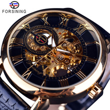 Forsining Watch Men Top Brand Luxury Skeleton Mechanical Watches Men Wrist Black Gold Case Leather Wristwatch Relogio Masculino