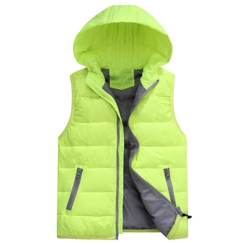 new children's candy color hooded solid warmth breathable outdoor sport down vest