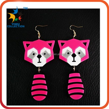 UK woman's bar nightclub wild exaggeration unique personality cartoon raccoon acrylic stud earring rock punk large rose earrings