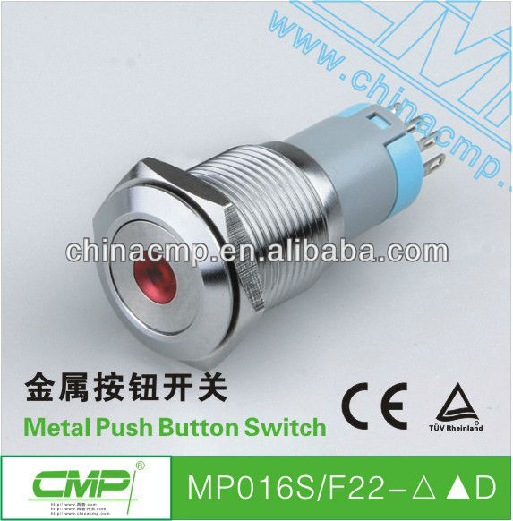 16mm waterproof stainless steel momentary or latching led indicator switch 230v ac ip67 TUV CE