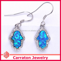 Hamsa 05 blue opal color code, blue opal hamsa dange earring over sterling silver 925