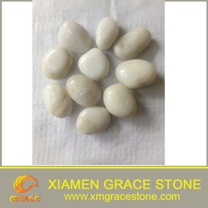 Pure White Polished Pebble Stone , Small White Round Cobbles Tiles