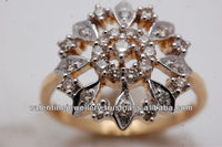 big ring with small diamonds, real diamond and solid gold jewelry supplies, traditional diamond jewelry from india