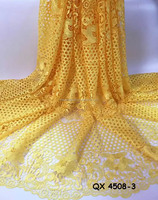 Fancy lady floral dress guipure lace fabric yellow cotton cord fabrics for evening QX 4508-3