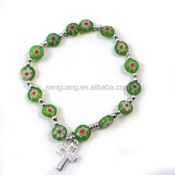 Catholic bracelet, multi color flat coloured glaze flower beads bracelet