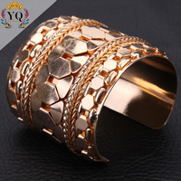 BYQ-00244 new gold chain design for men steatment metal modern gold open cuff bangle design adjustable for women