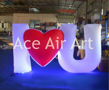 Inflatable standing wedding decoration inflatable lighting Letter model I love You for Valentine's Day