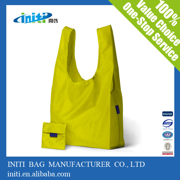 Initi Solid Color Polyester Foldable Tote reusable shopping Bag with Snap Closure