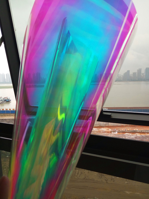 Royal Glory Gold Blue Tint Self Adhesive Dichroic Film for Glass Window