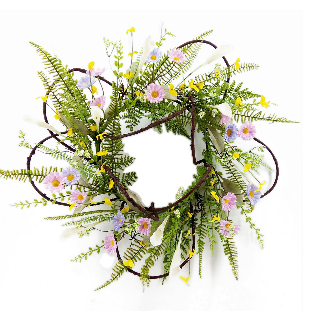 "24"" Diameter Spring Garden Yellow and Green Flower Wreath for Outdoor"