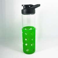 Eco joyshaker water bottles with Jelly color silicone sleeve, novelty drink bottles with silicon band