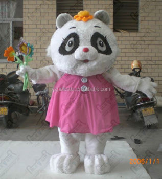pink dress fat panda mascot costumes cartoon plush panda wear costumes EVA head