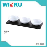 9061B 3pcs ceramic snack plate set with wooden tray