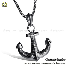 New arrival two tone stainless steel infinity necklace design anchor pendant stainless steel necklace