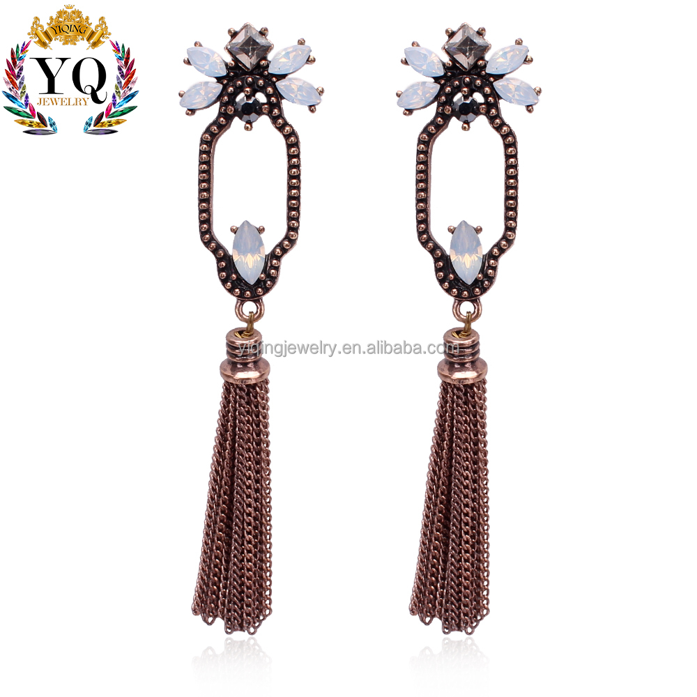 EYQ-00481 elegant long opal drop earring chain tassel earrings fringe