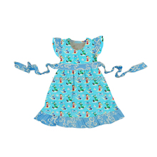 Hot sale beautiful summer kids child baby girl princess dress with belt