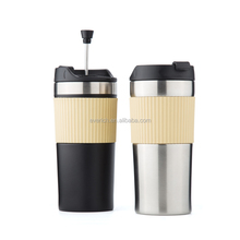 Double wall insulated thermo stainless steel coffee mug with french press
