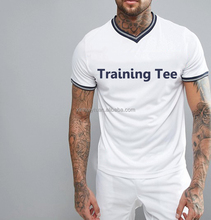 Top Quality Custom Screen Print Your Own V Neck Men Clothes White Training T-Shirt With Multicolor Rib