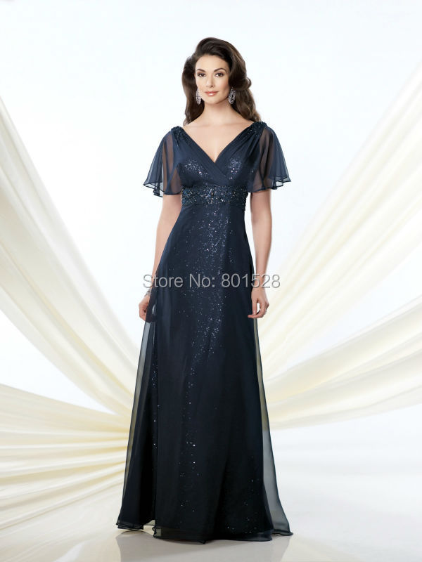 Get Quotations · RM15 Sexy V Neck Short Sleeves Cap Sleeves Mother of the  Bride Dresses 2015 Elegant Navy 57bfdd5e73dd