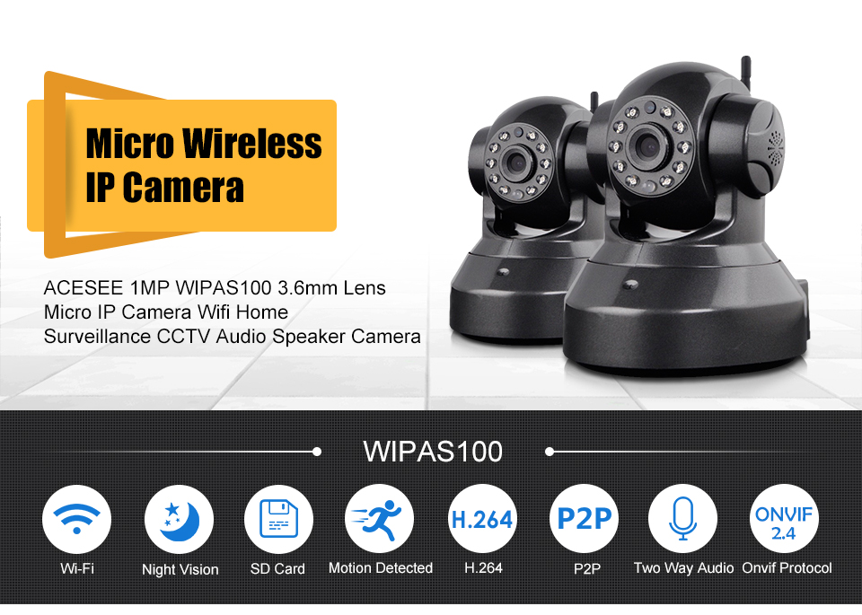 Acesee 720P Mini IP Wireless camera PnP for Home Security with Email Alert