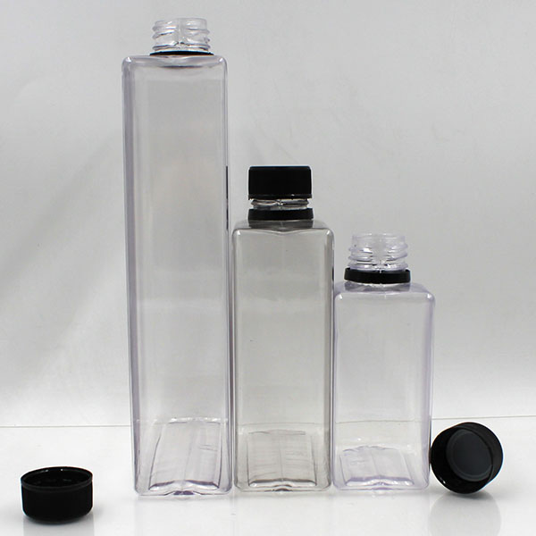 New product 250ml 500ml 1L PET square empty clear wine plastic bottles